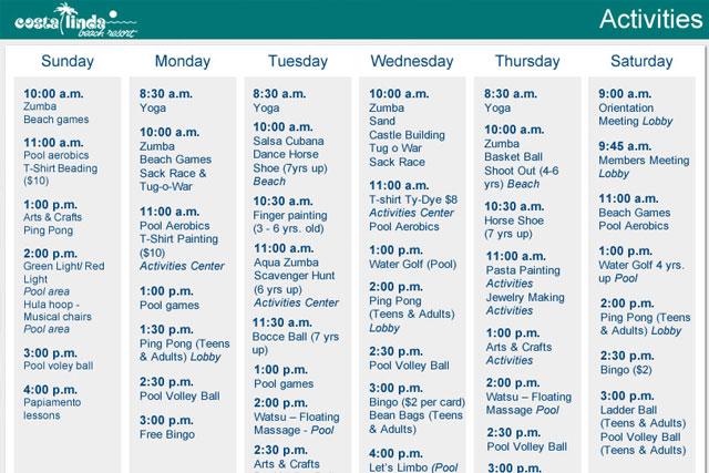 Activities List at Costa Linda Beach Resort