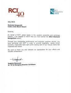 RCI Diamond Award